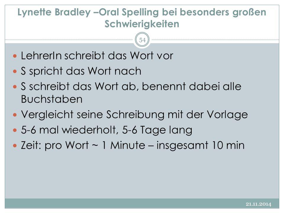 Lynette Bradley –Oral Spelling bei besonders großen Schwierigkeiten