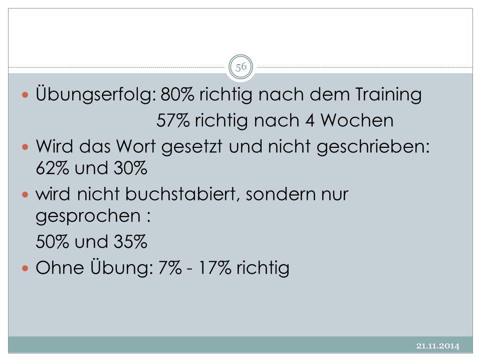 Übungserfolg: 80% richtig nach dem Training 57% richtig nach 4 Wochen