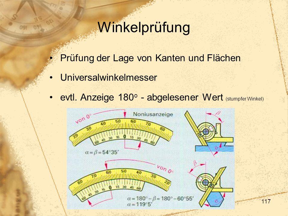 Winkelprüfung Prüfung der Lage von Kanten und Flächen