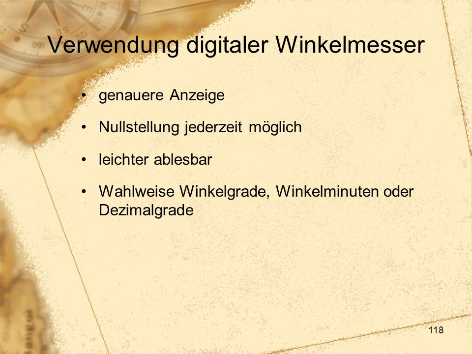Verwendung digitaler Winkelmesser