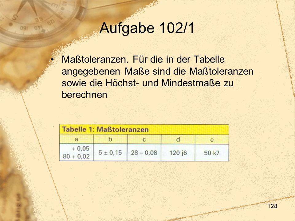 Aufgabe 102/1 Maßtoleranzen.