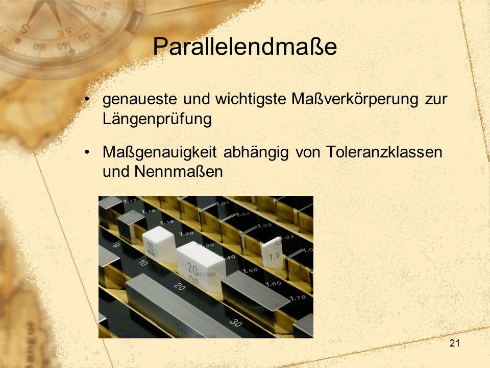 Parallelendmaße genaueste und wichtigste Maßverkörperung zur Längenprüfung.