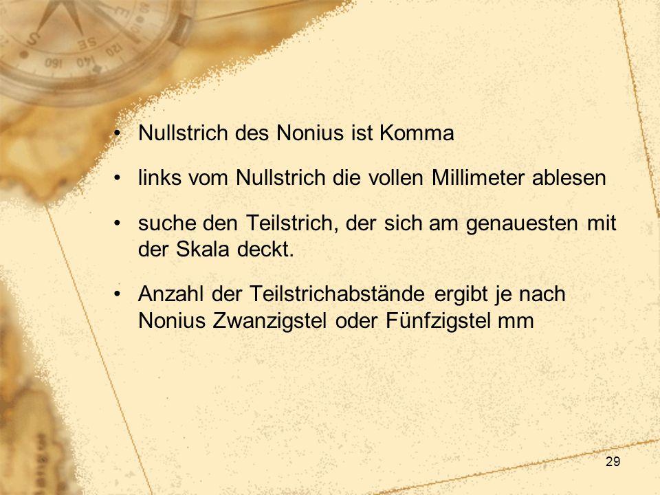 Nullstrich des Nonius ist Komma