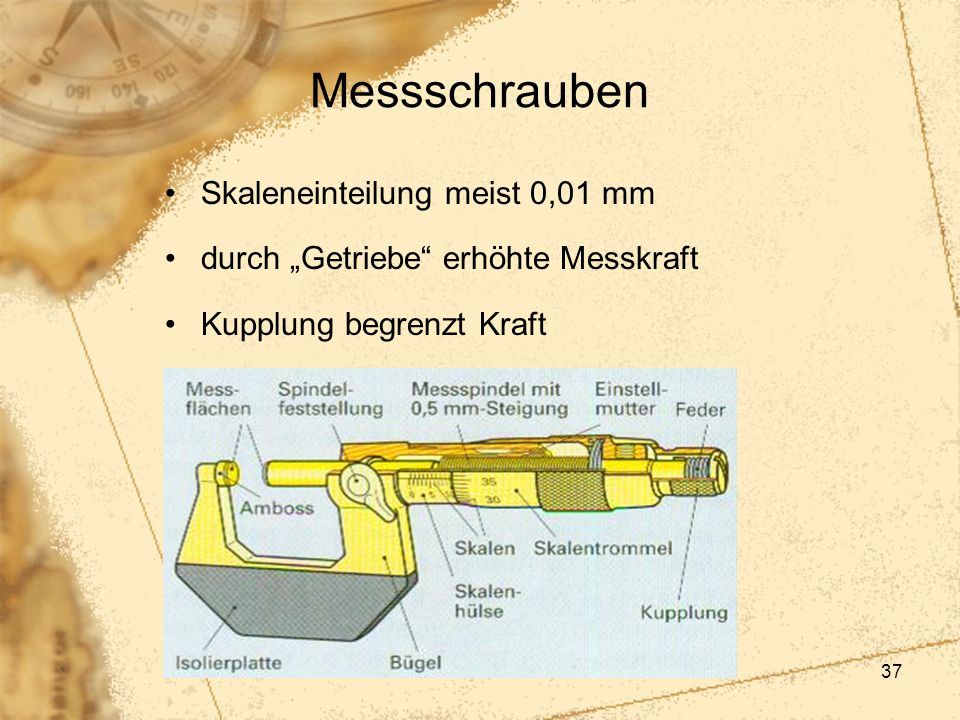 Messschrauben Skaleneinteilung meist 0,01 mm