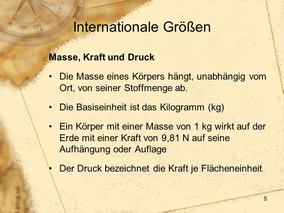 Internationale Größen