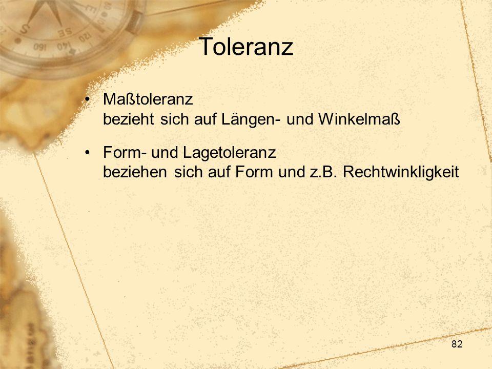 Toleranz Maßtoleranz bezieht sich auf Längen- und Winkelmaß