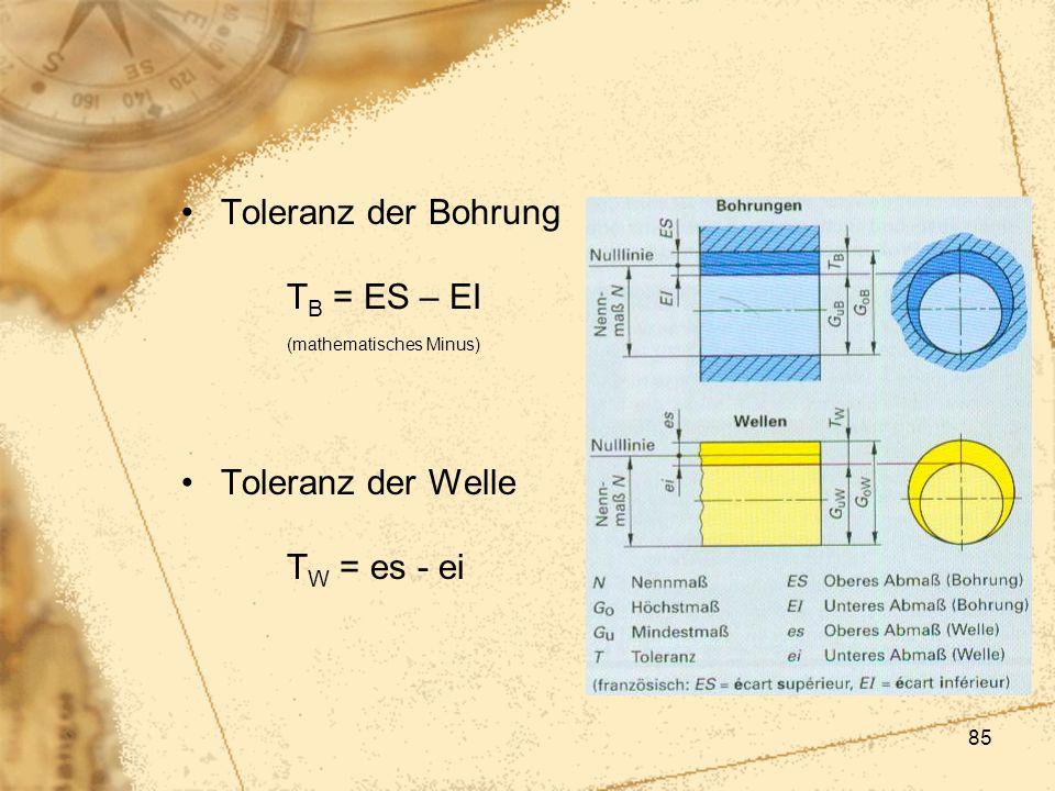 Toleranz der Bohrung TB = ES – EI (mathematisches Minus)