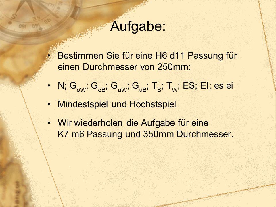 Aufgabe: Bestimmen Sie für eine H6 d11 Passung für einen Durchmesser von 250mm: N; GoW; GoB; GuW; GuB; TB; TW; ES; EI; es ei.