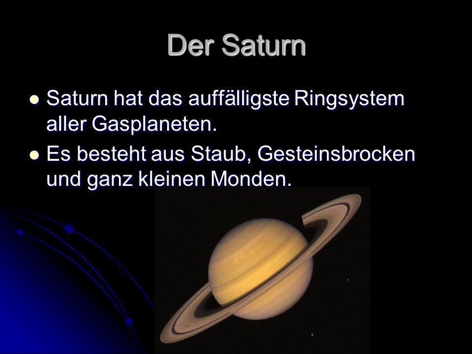 Der Saturn Saturn hat das auffälligste Ringsystem aller Gasplaneten.