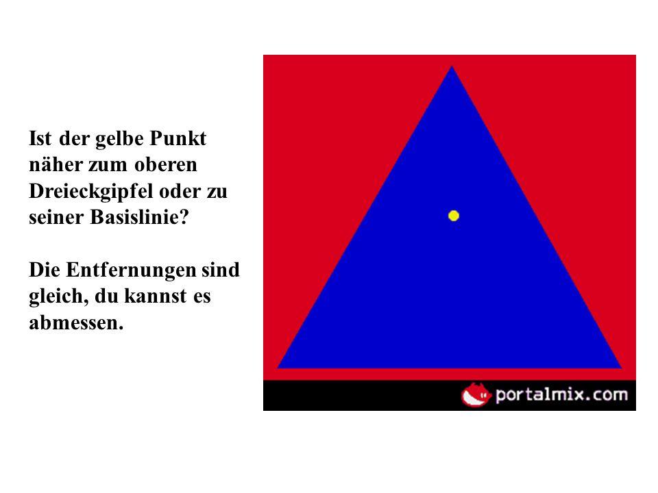 Ist der gelbe Punkt näher zum oberen Dreieckgipfel oder zu seiner Basislinie
