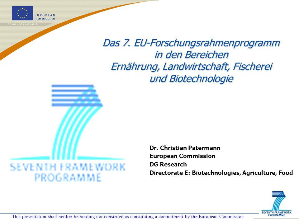 Das 7. EU-Forschungsrahmenprogramm in den Bereichen Ernährung, Landwirtschaft, Fischerei und Biotechnologie