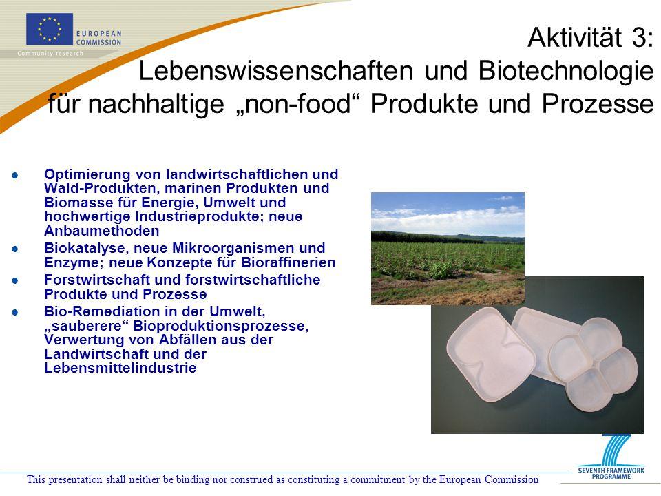 """Aktivität 3: Lebenswissenschaften und Biotechnologie für nachhaltige """"non-food Produkte und Prozesse"""