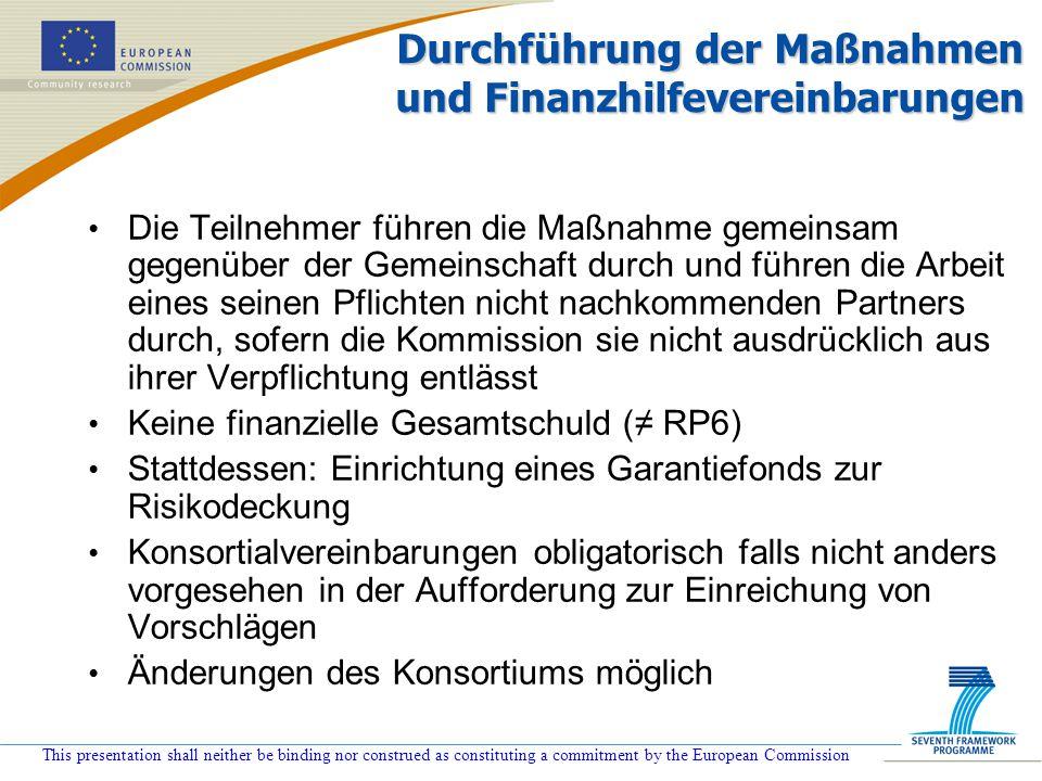 Durchführung der Maßnahmen und Finanzhilfevereinbarungen