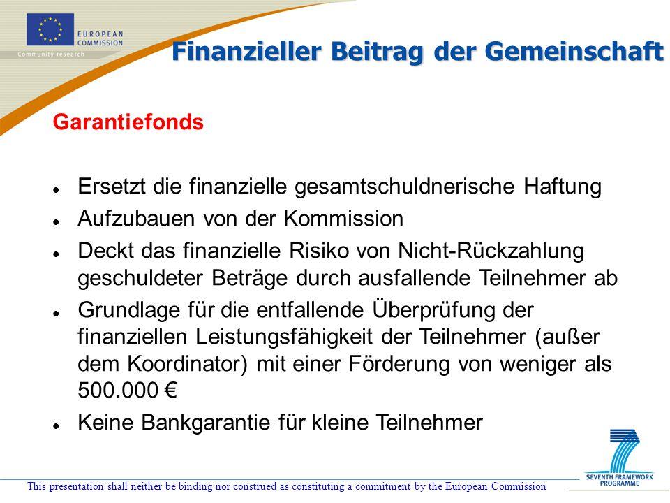Finanzieller Beitrag der Gemeinschaft