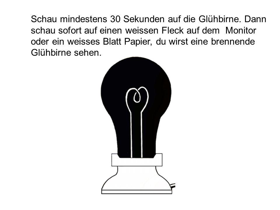 Schau mindestens 30 Sekunden auf die Glühbirne