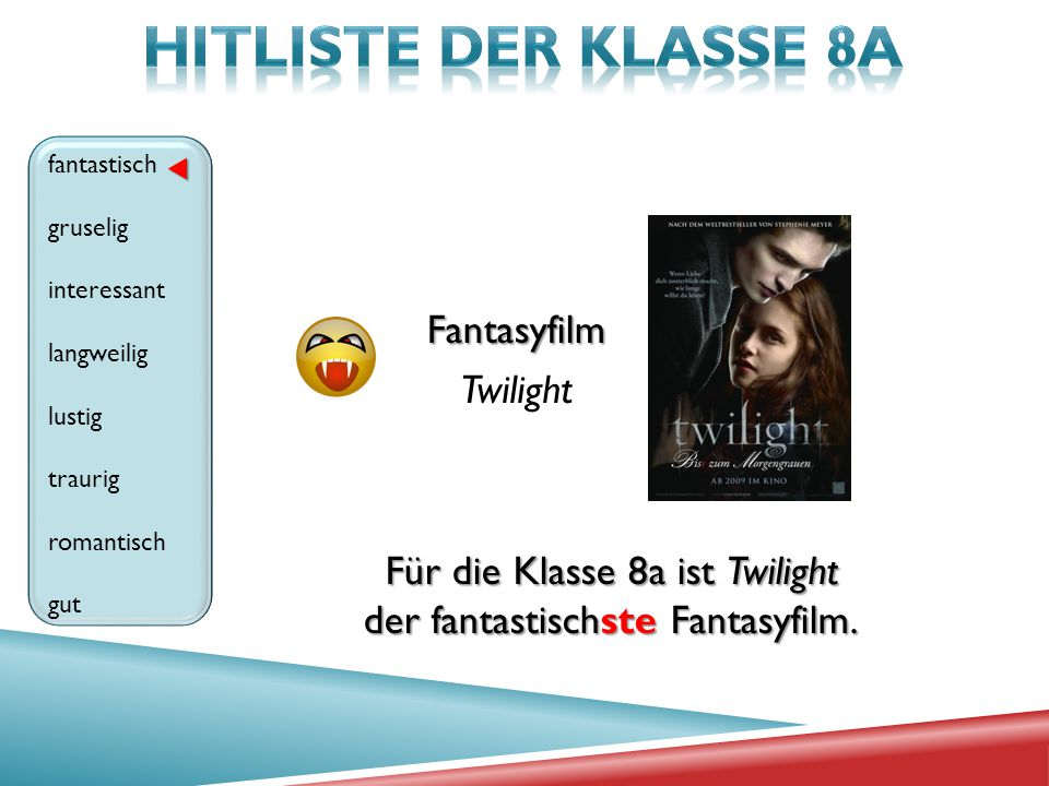 HITLISTE der klasse 8A Fantasyfilm Twilight