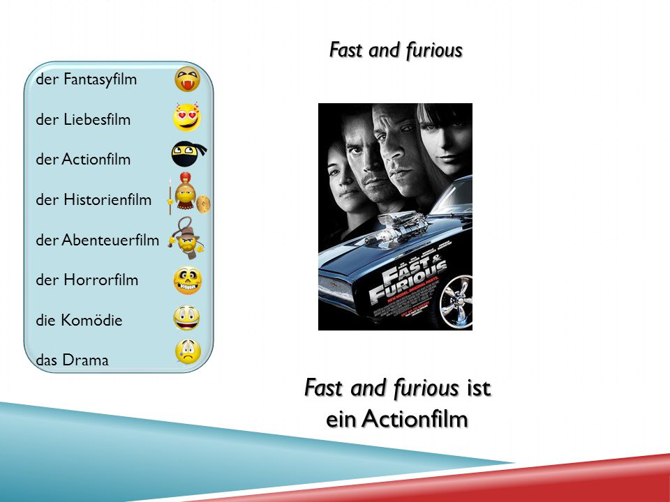 Fast and furious ist ein Actionfilm Fast and furious der Fantasyfilm