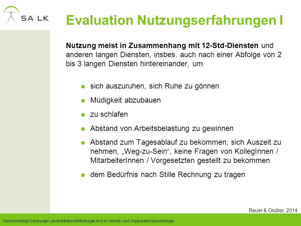 Evaluation Nutzungserfahrungen I
