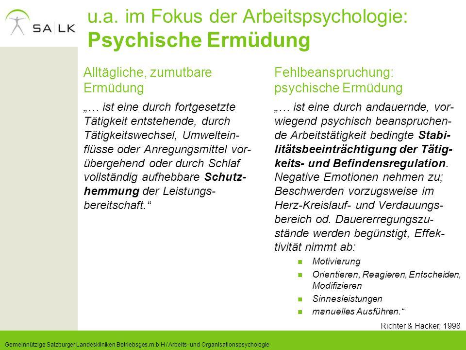 u.a. im Fokus der Arbeitspsychologie: Psychische Ermüdung