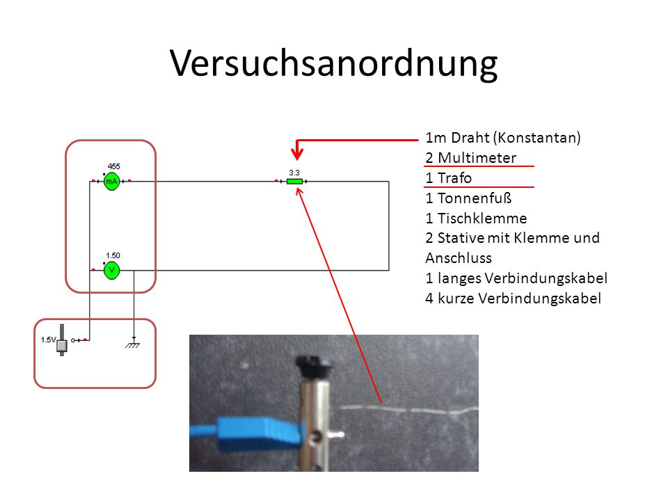 Versuchsanordnung 1m Draht (Konstantan) 2 Multimeter 1 Trafo