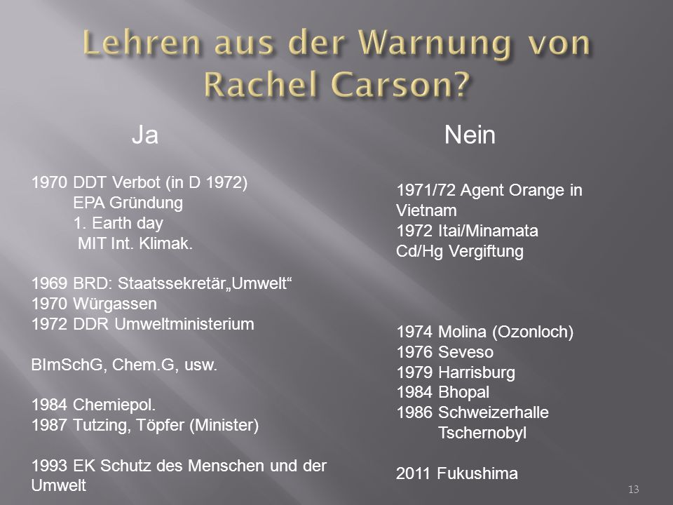 Lehren aus der Warnung von Rachel Carson