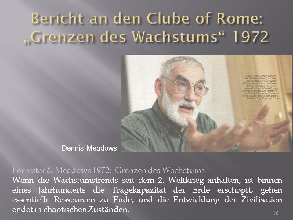"""Bericht an den Clube of Rome: """"Grenzen des Wachstums 1972"""