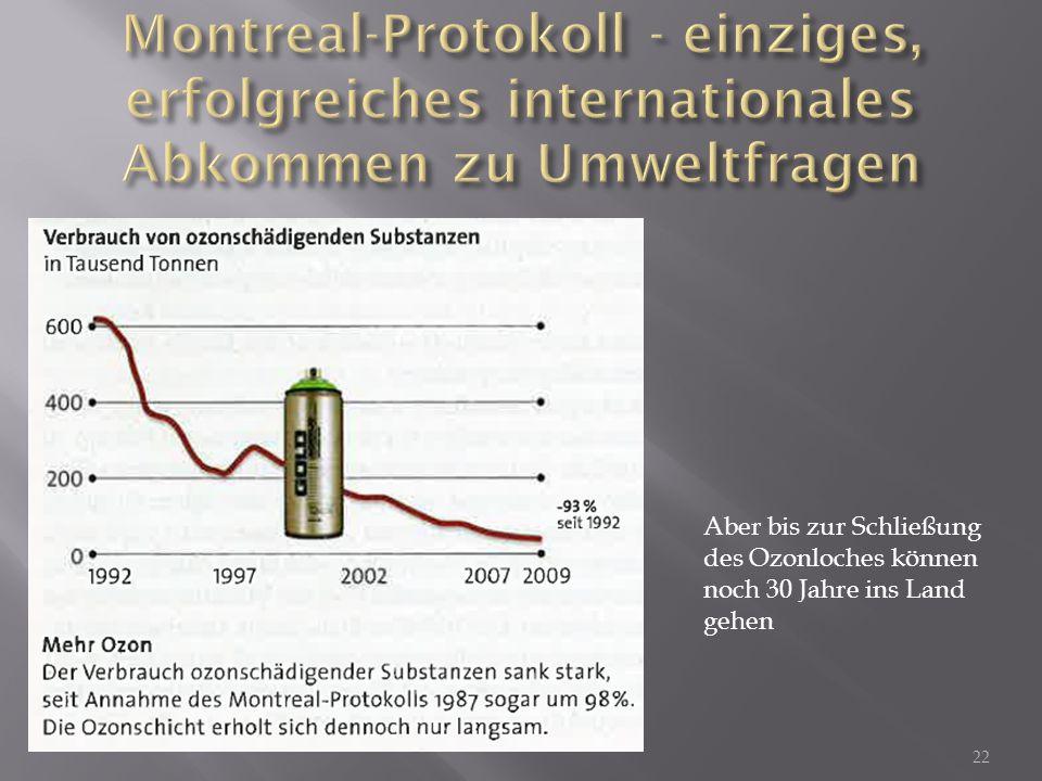 Montreal-Protokoll - einziges, erfolgreiches internationales Abkommen zu Umweltfragen