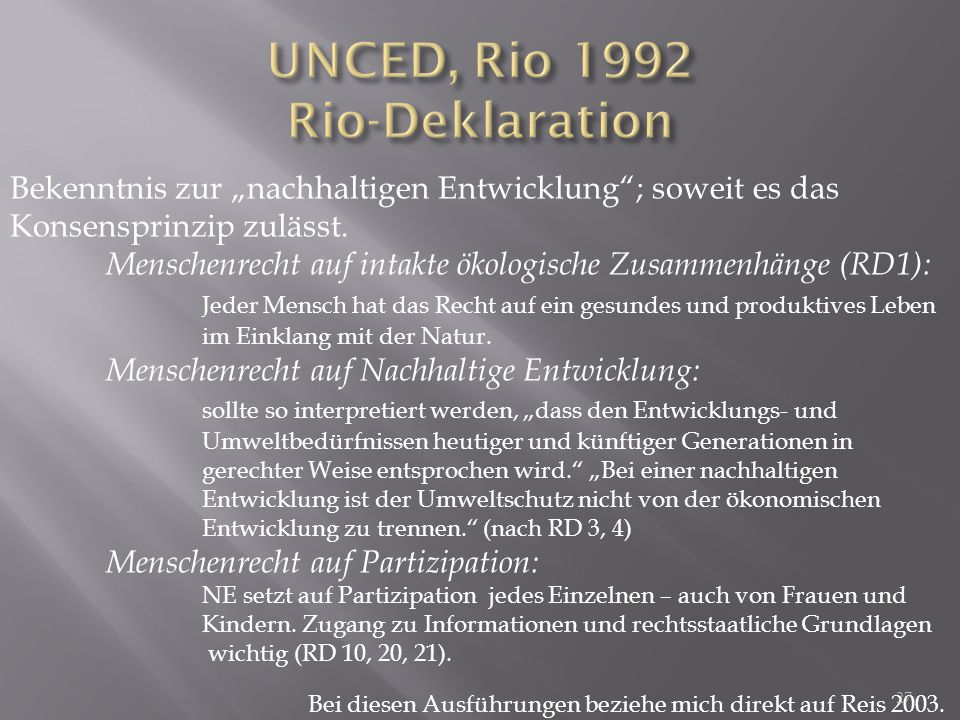 UNCED, Rio 1992 Rio-Deklaration