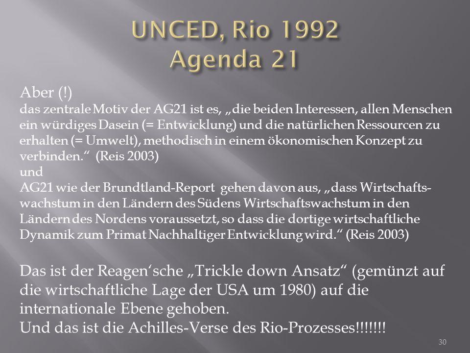 UNCED, Rio 1992 Agenda 21 Aber (!)