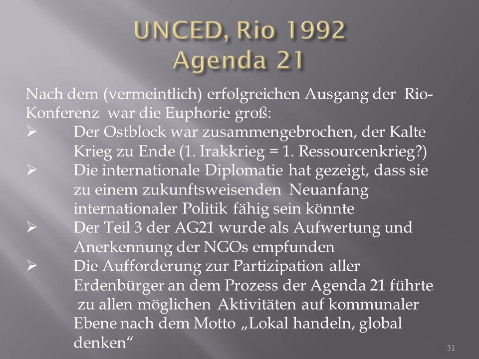 UNCED, Rio 1992 Agenda 21 Nach dem (vermeintlich) erfolgreichen Ausgang der Rio-Konferenz war die Euphorie groß: