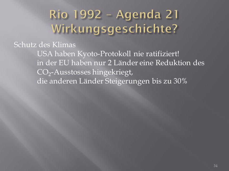 Rio 1992 – Agenda 21 Wirkungsgeschichte