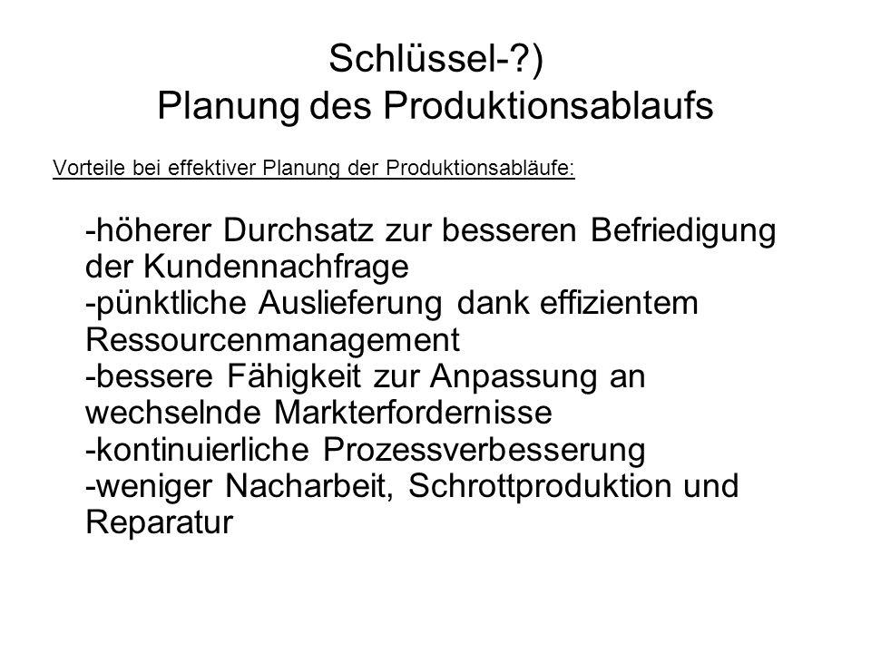 Schlüssel- ) Planung des Produktionsablaufs
