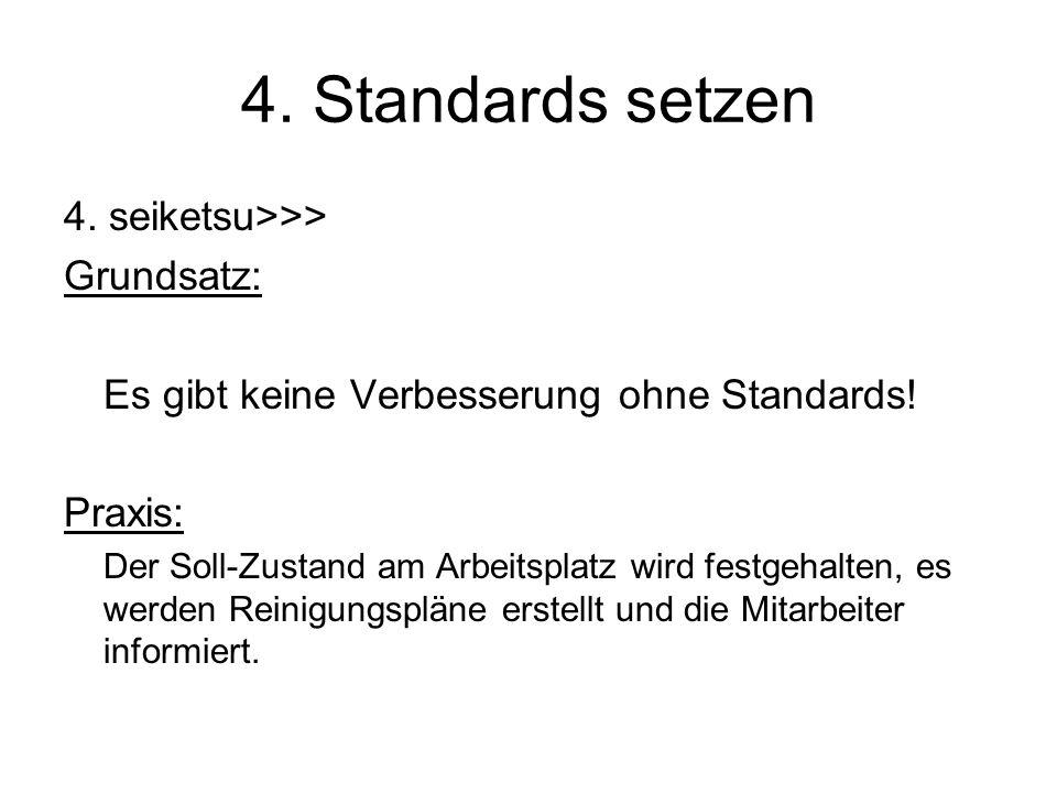 4. Standards setzen 4. seiketsu>>> Grundsatz: