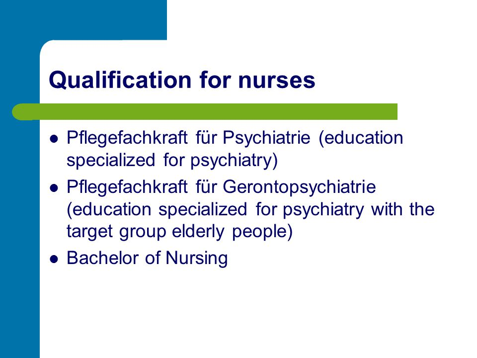 Qualification for nurses