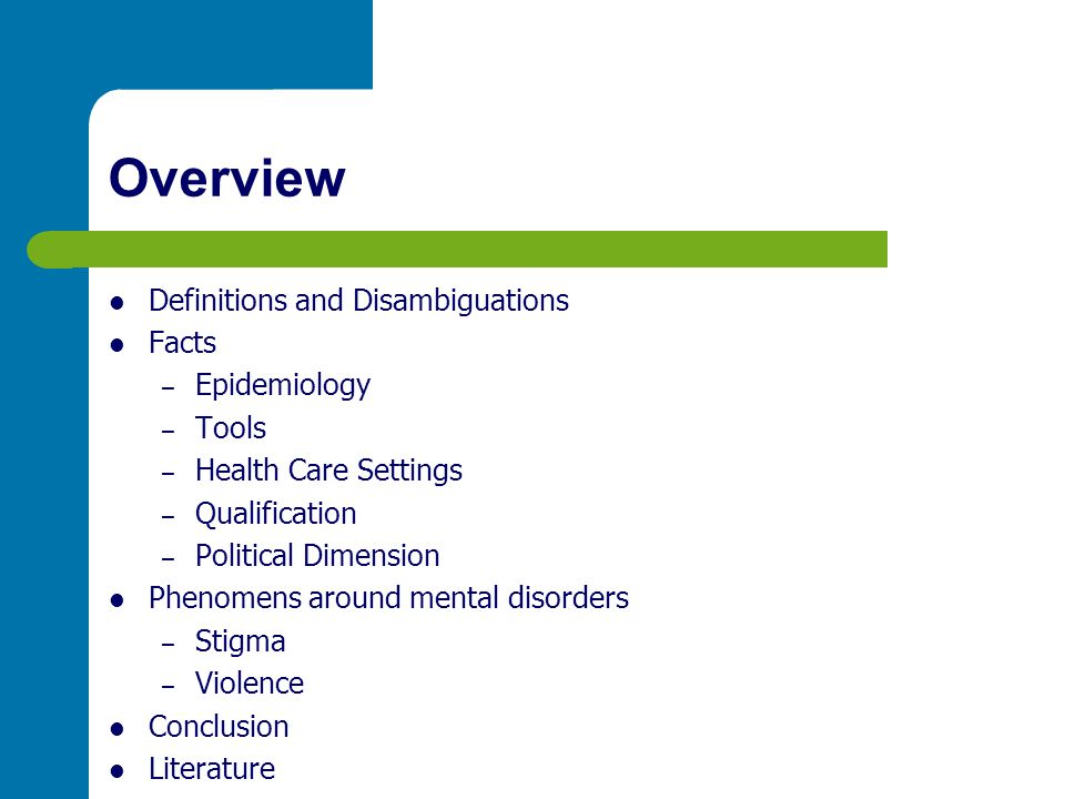Overview Definitions and Disambiguations Facts Epidemiology Tools
