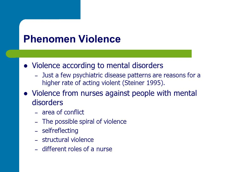 Phenomen Violence Violence according to mental disorders