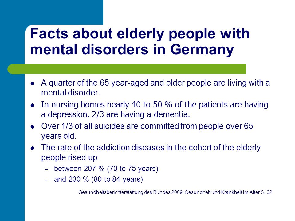 Facts about elderly people with mental disorders in Germany