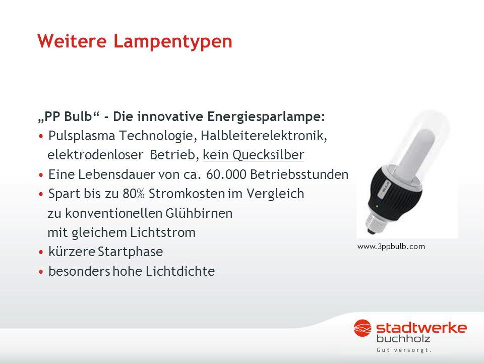 """Weitere Lampentypen """"PP Bulb - Die innovative Energiesparlampe:"""
