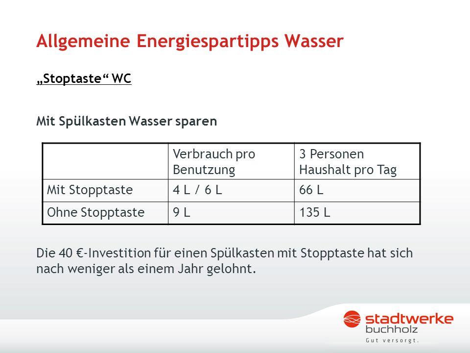 """Allgemeine Energiespartipps Wasser """"Stoptaste WC"""