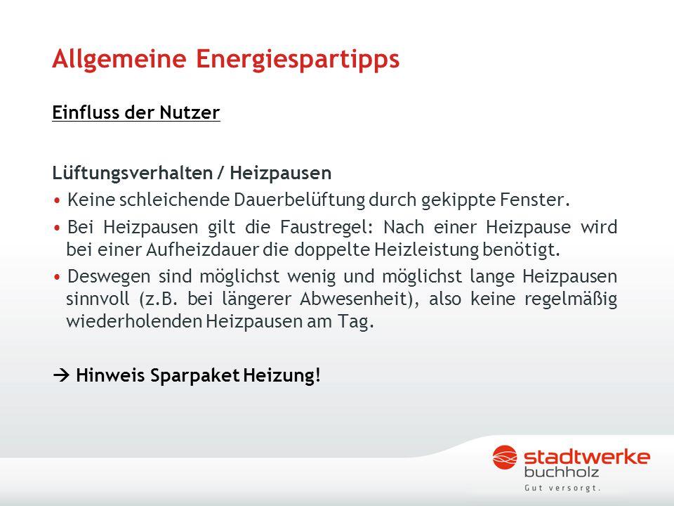 Allgemeine Energiespartipps Einfluss der Nutzer