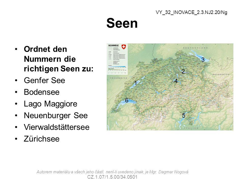 Seen Ordnet den Nummern die richtigen Seen zu: Genfer See Bodensee