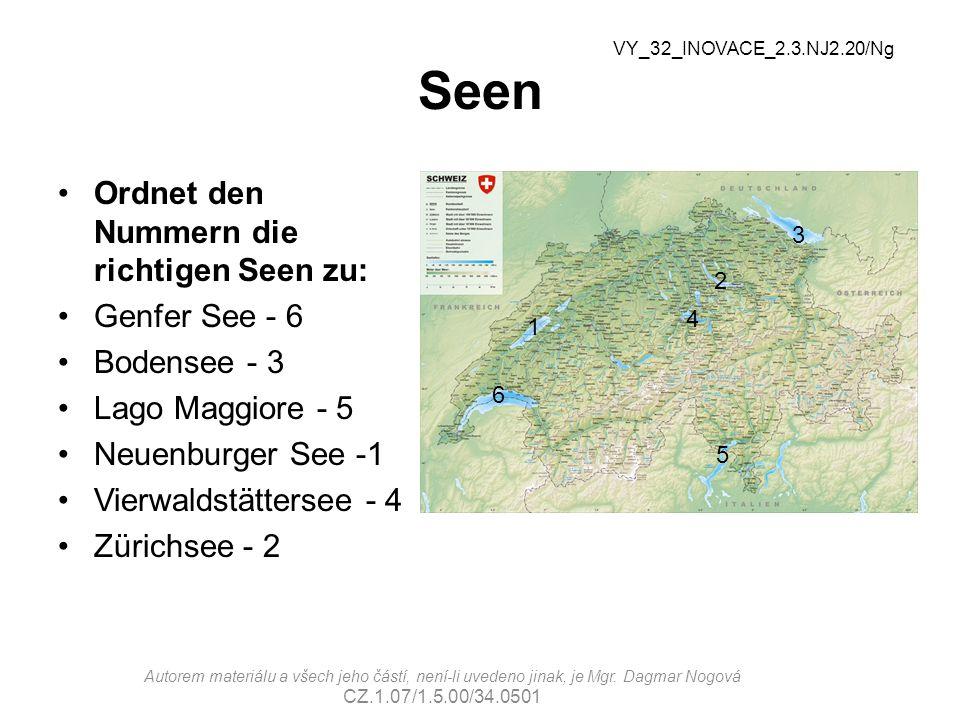 Seen Ordnet den Nummern die richtigen Seen zu: Genfer See - 6