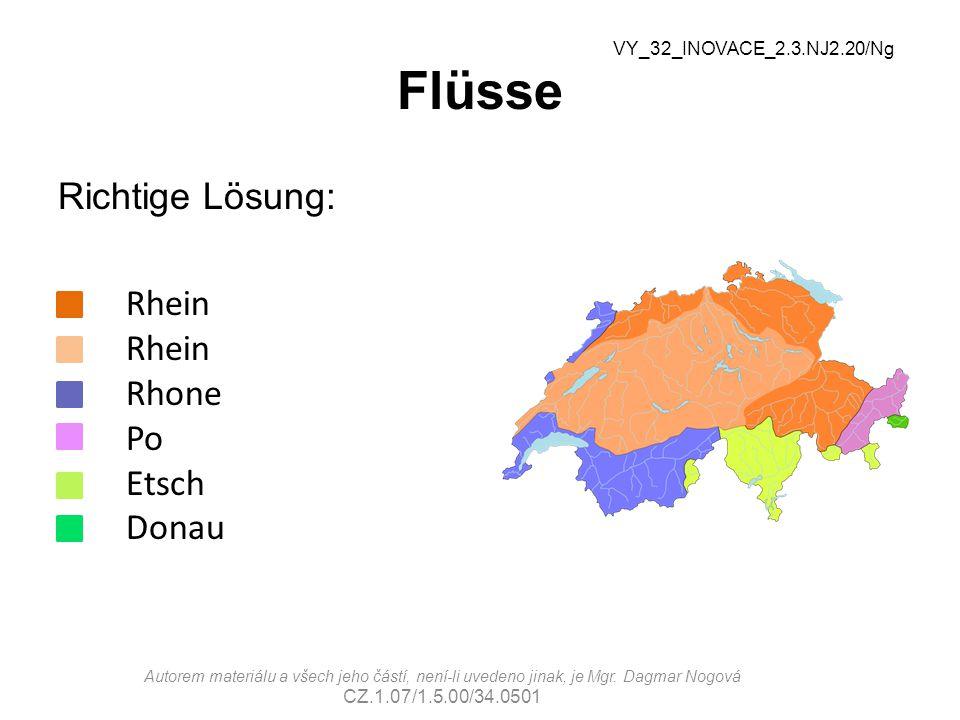 Flüsse Richtige Lösung: Rhein Rhein Rhone Po Etsch Donau