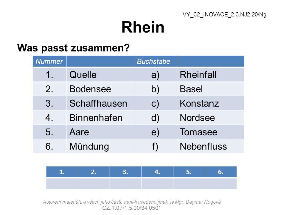 Rhein Was passt zusammen 1. Quelle a) Rheinfall 2. Bodensee b) Basel