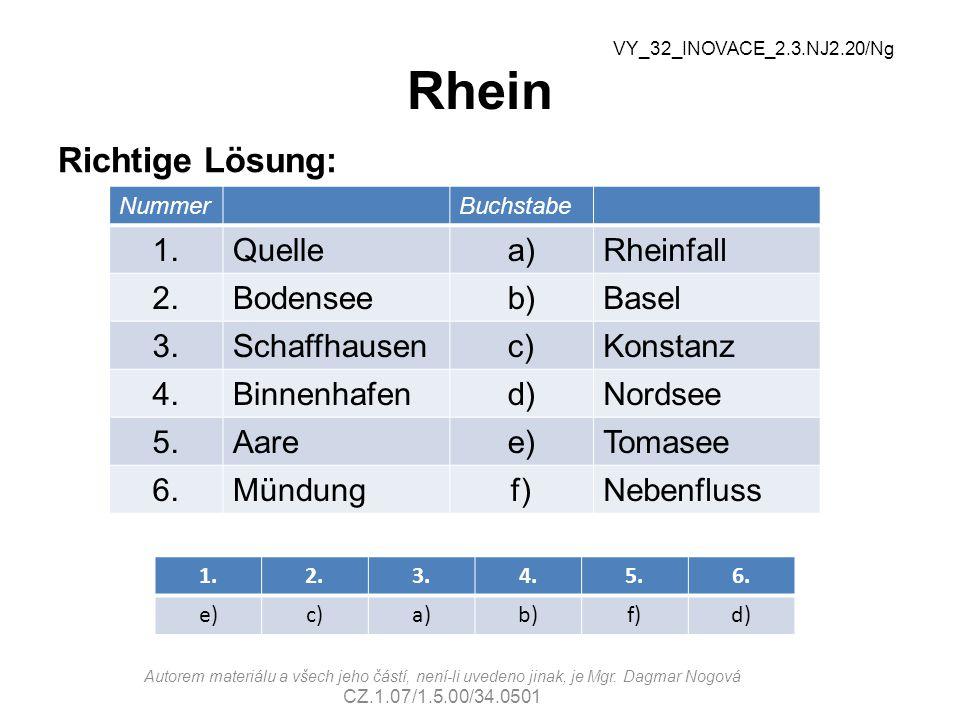 Rhein Richtige Lösung: 1. Quelle a) Rheinfall 2. Bodensee b) Basel 3.