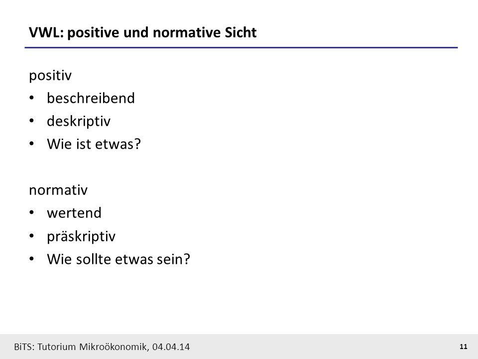 VWL: positive und normative Sicht