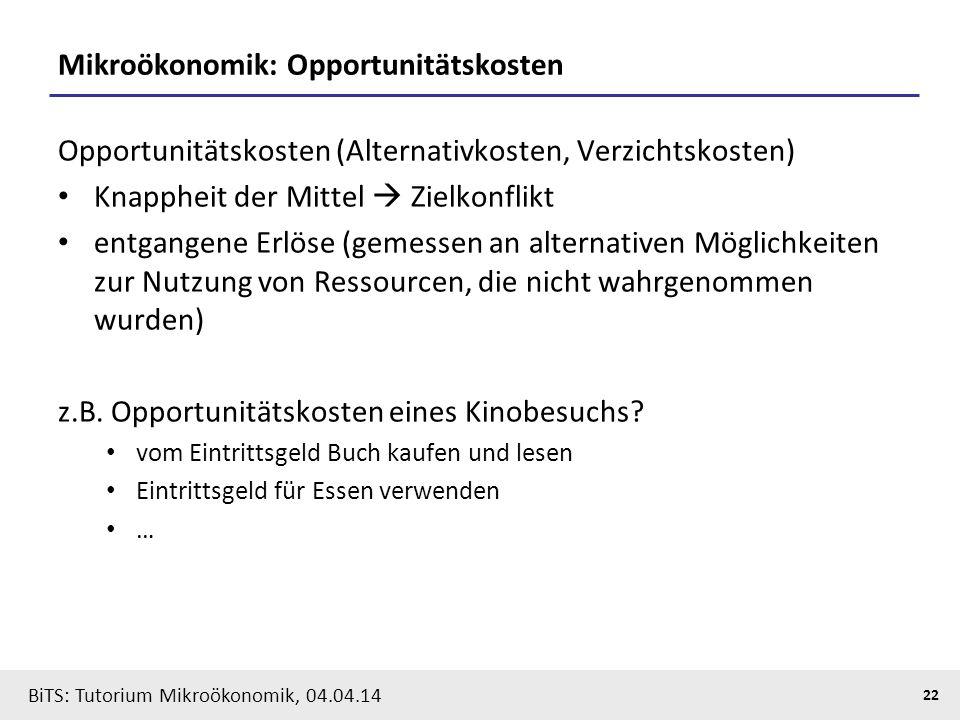 Mikroökonomik: Opportunitätskosten