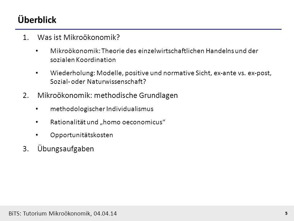 Überblick Was ist Mikroökonomik Mikroökonomik: methodische Grundlagen