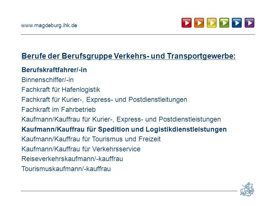 Berufe der Berufsgruppe Verkehrs- und Transportgewerbe: