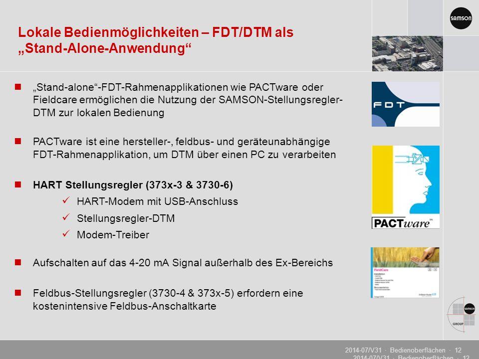 """Lokale Bedienmöglichkeiten – FDT/DTM als """"Stand-Alone-Anwendung"""
